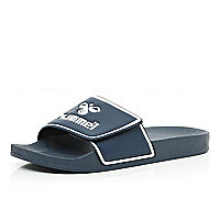 Navy Hummel velcro pool sliders