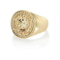 Gold tone Lion statement ring