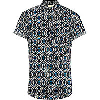 Black tribal print short sleeve shirt