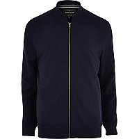 Navy blue jersey bomber jacket