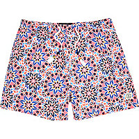 Pink tile print beach shorts