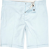 Light blue skinny suit shorts