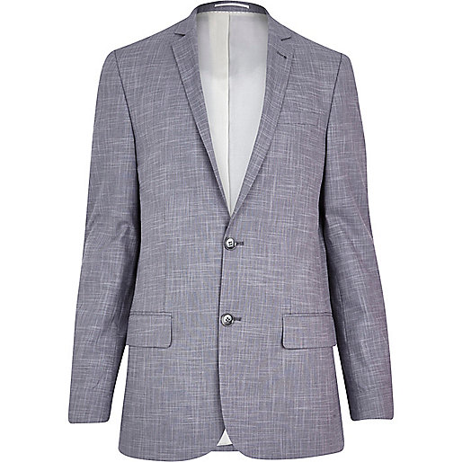 Lilac crosshatch skinny suit jacket