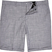 Lilac crosshatch skinny suit shorts