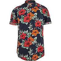 Navy Jack & Jones Vintage tropical shirt