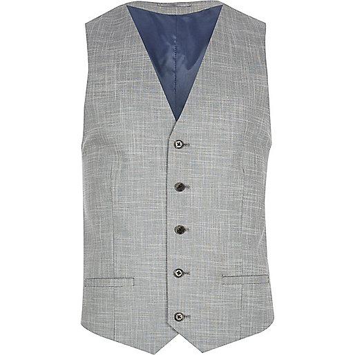 Light grey slub waistcoat