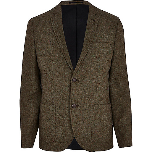 Khaki tweed green blazer