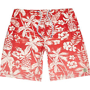 Red floral ombre long swim shorts