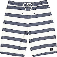 Ecru stripe long board shorts