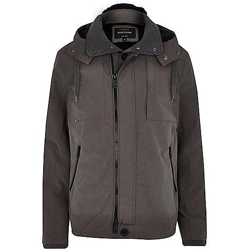 Grey hooded zip front jacket