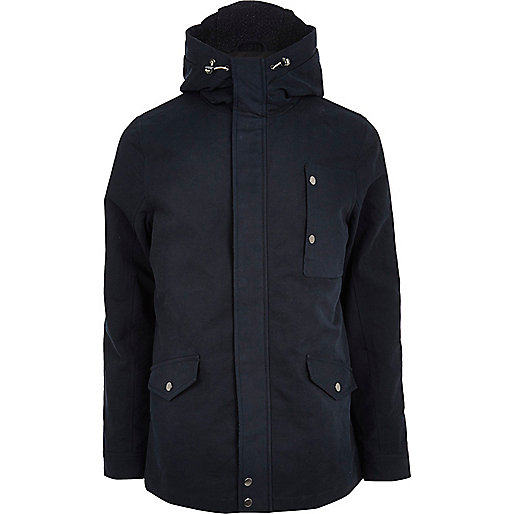 Blue casual hooded jacket