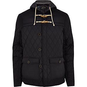 Navy blue quilted casual jacket