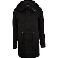 Black casual parka jacket