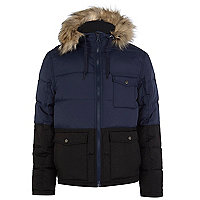 Navy two-tone padded jacket