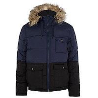 Navy two-tone padded jacket