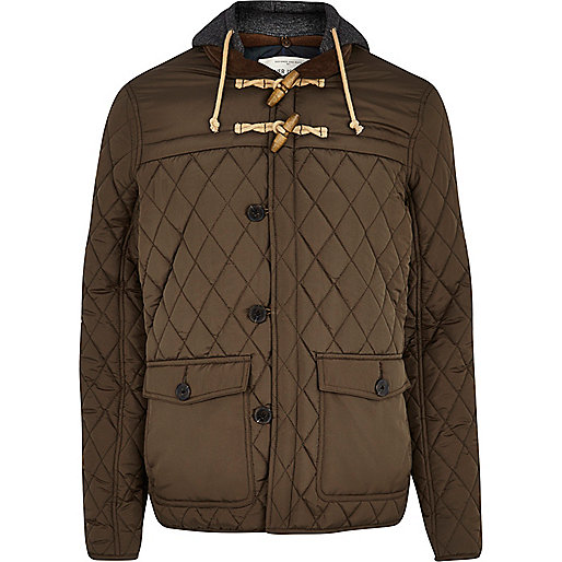 Khaki green quilted casual jacket
