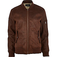 Brown shearling bomber jacket
