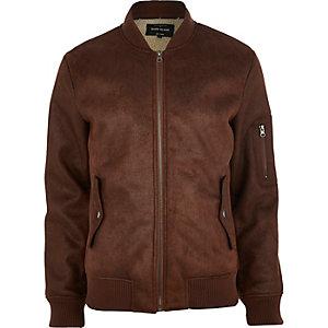 Brown shearling bomber jacket