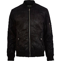 Black shearling bomber jacket