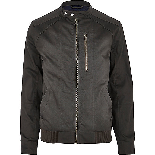 Dark grey casual bomber jacket