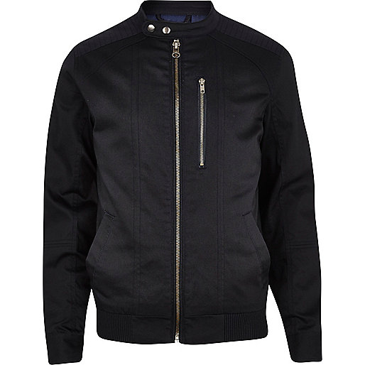 Dark navy casual bomber jacket