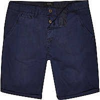 Navy blue chino slim shorts