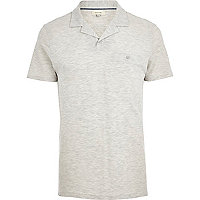 Ecru marl open collar polo shirt