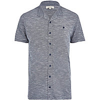 Dark grey marl button through polo shirt