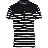 Black breton stripe grandad t-shirt