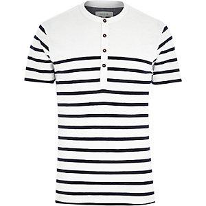 White breton stripe grandad t-shirt