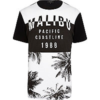 Black Malibu palm tree print t-shirt