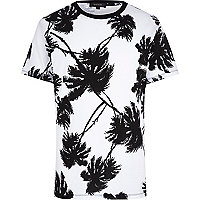 White palm tree print t-shirt