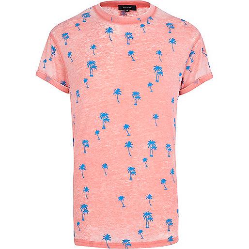 Orange burnout ditsy palm tree print t-shirt