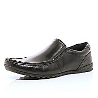 Black slip on moccasin shoes