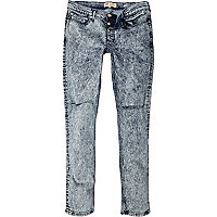 Light acid wash rip Sid skinny stretch jeans