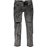 Black acid wash rip Sid skinny stretch jeans
