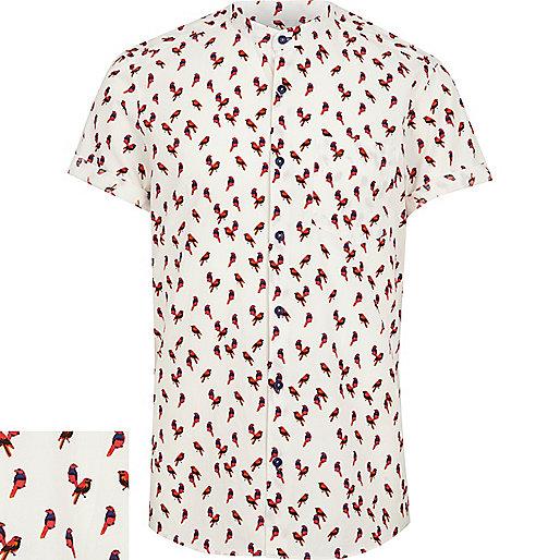 White parrot print grandad shirt
