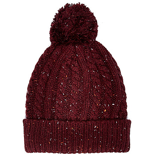 Dark red neppy cable knit beanie hat
