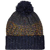 Navy blue colour block beanie hat