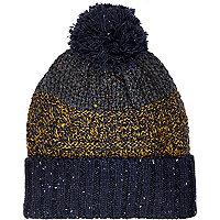 Navy blue colour block beanie hat