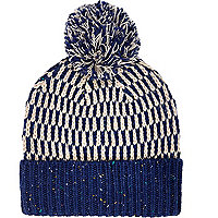 Blue mixed stitch beanie hat