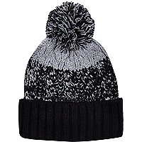 Black colour block beanie hat