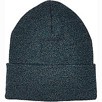 Navy twist knit turn up beanie hat