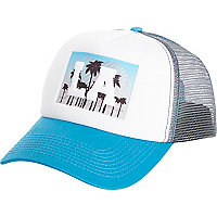 White LA print trucker hat