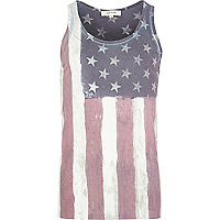Grey USA flag print vest