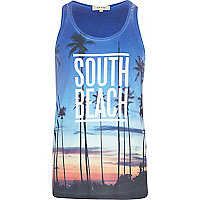 Blue South Beach palm tree print vest