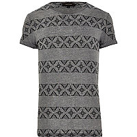 Grey Aztec stripe print t-shirt