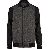 Black herringbone bomber jacket