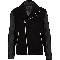 Navy blue smart biker jacket
