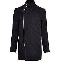 Dark grey asymmetric zip smart coat